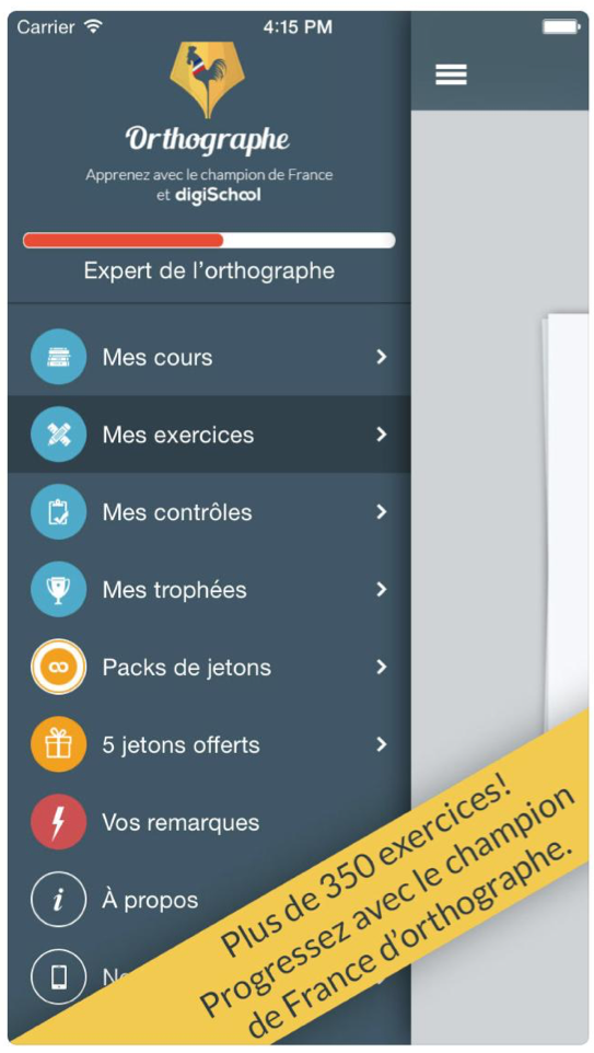 exercice langue apprendre orthographe applications