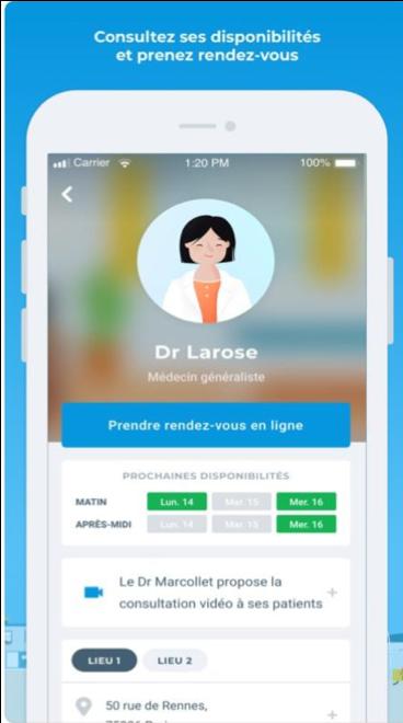 rendez-vous médecin trouver Paris lieu adresse numéro heure disponible